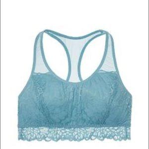 Victoria's Secret PINK unlined lace bralette blue
